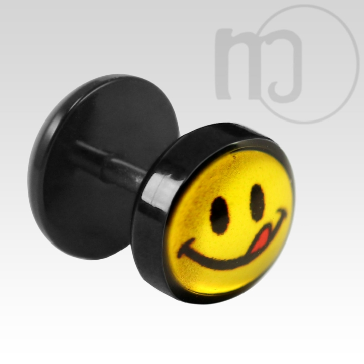 Fake Plug Ohrstecker Smiley mit Zunge