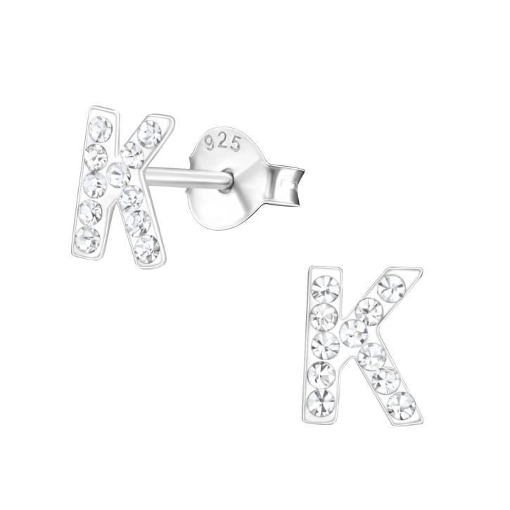 Buchstaben Ohrstecker 925 Sterling Silber K mit Kristallen