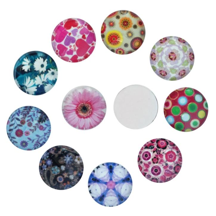 Mix 20 Glas Klebesteine 12 mm Cabochon mit Blumen Motiven