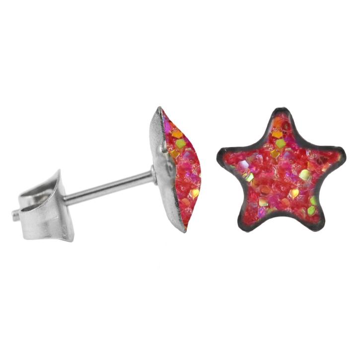 Ohrstecker Chirurgenstahl glitzernder Stern pink-aurora borealis