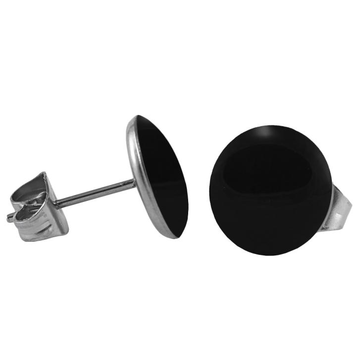 Chirurgenstahl Ohrstecker Emaille schwarz 6 mm