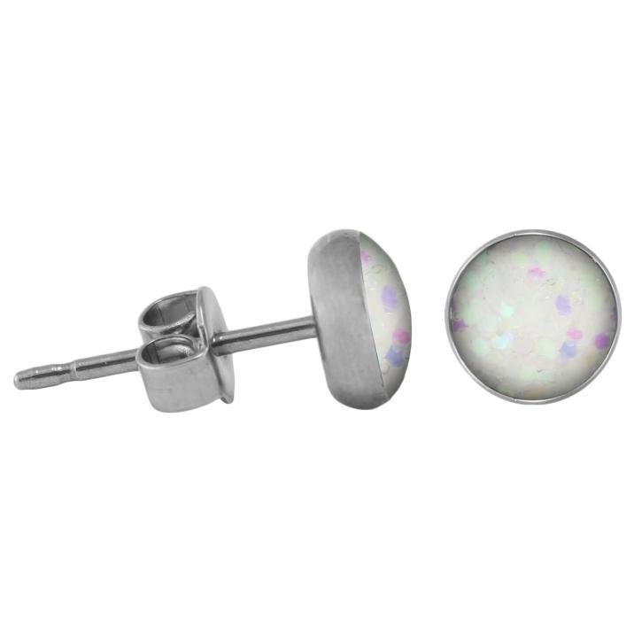 Chirurgenstahl Ohrstecker Glitterline aurora borealis 4 mm