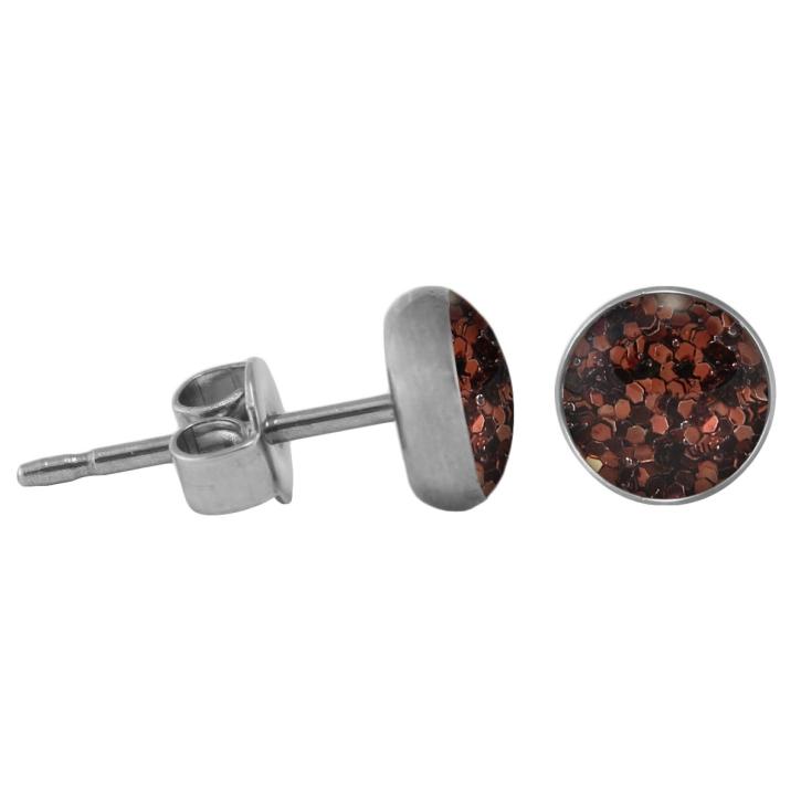 Chirurgenstahl Ohrstecker Glitterline braun 6 mm