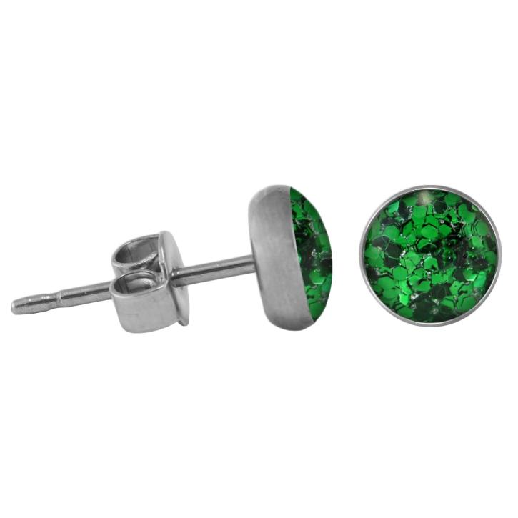 Chirurgenstahl Ohrstecker Glitterline dunkelgrün 6 mm
