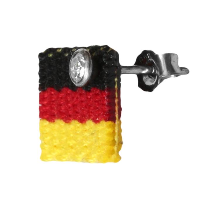 Fan Ohrstecker Fußball mit Deutschlandfahne 925 Sterling Silber