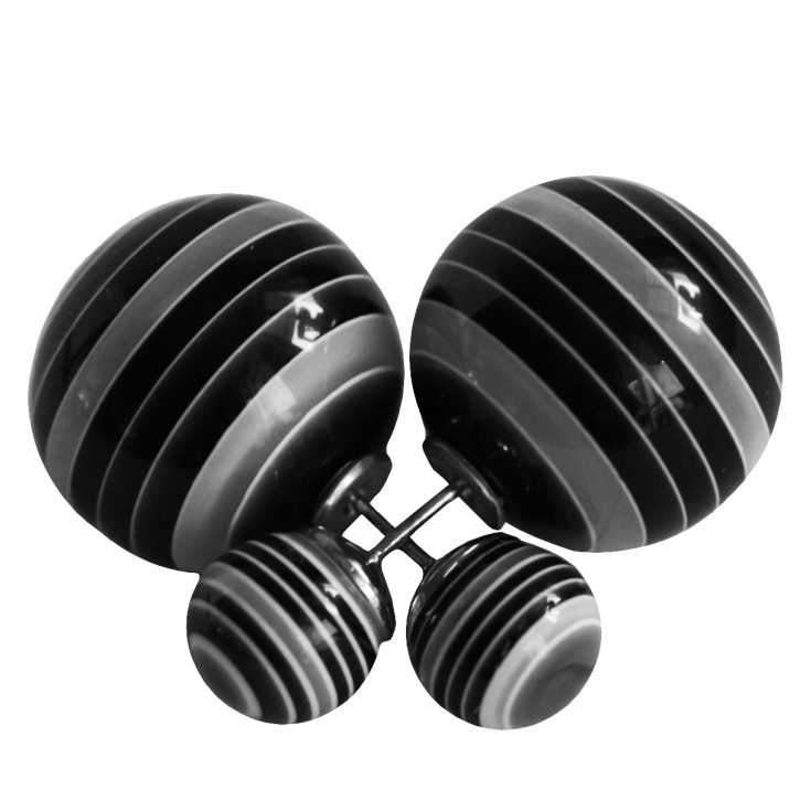 Doppel Perlen Ohrstecker gestreift in schwarz-grau