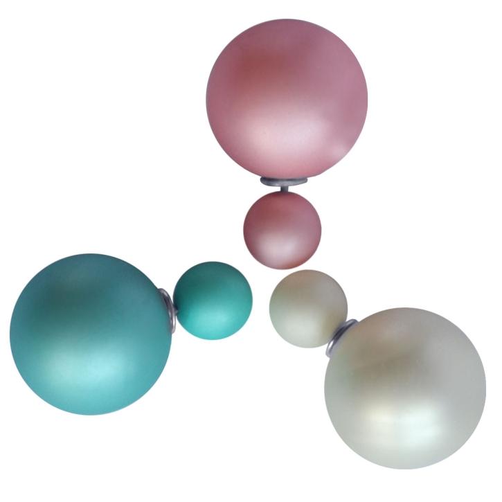 Modeschmuck Doppelperlen Ohrstecker in verschiedenen Farben