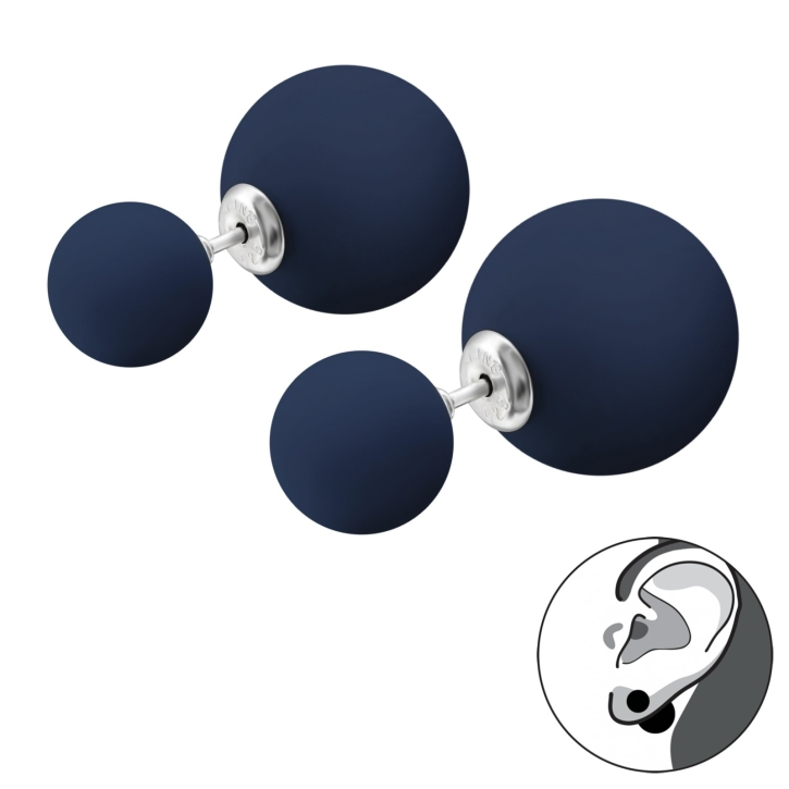 Doppelperlen Ohrstecker 925 Sterling Silber in blau