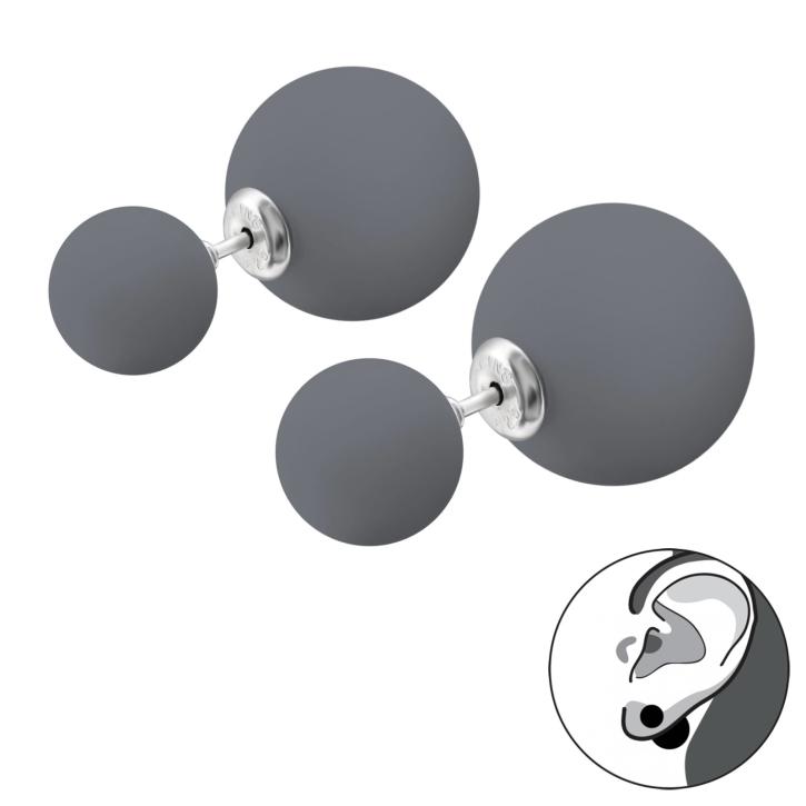 Doppelperlen Ohrstecker 925 Sterling Silber in grau