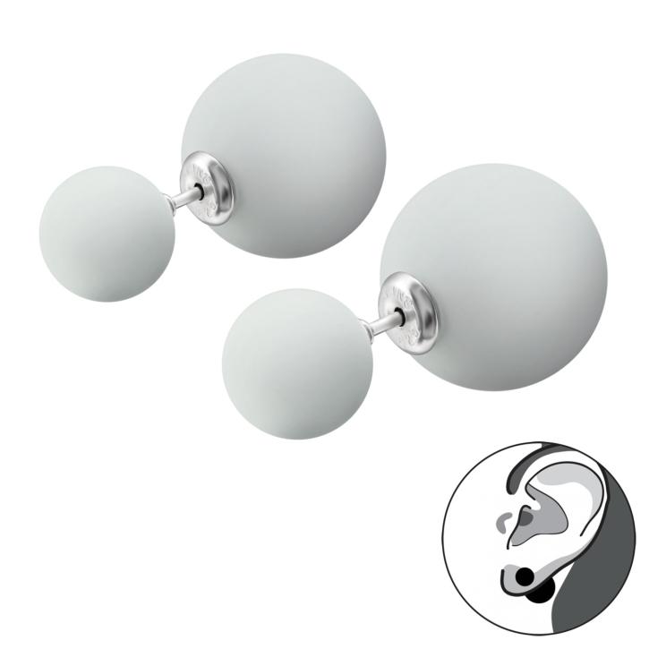 Doppelperlen Ohrstecker 925 Sterling Silber in hellgrau