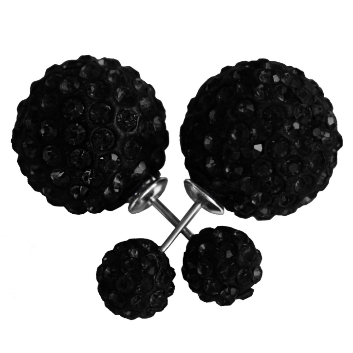 Modeschmuck Shamballa Doppelperlen Ohrstecker in schwarz