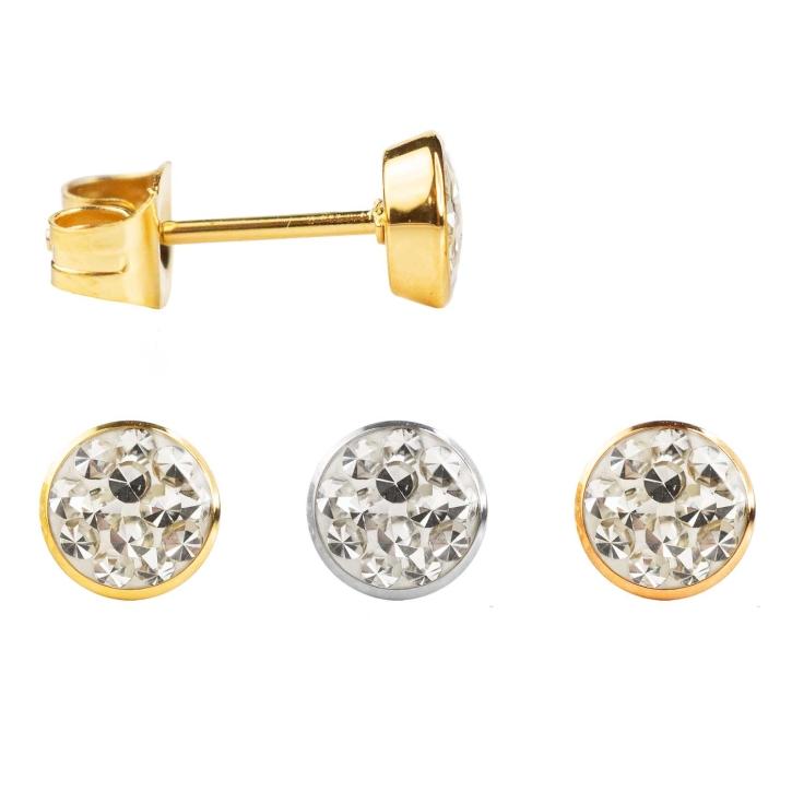 Edelstahl Ohrstecker gelbvergoldet oder rosévergoldet mit kleinen Kristallsteinen