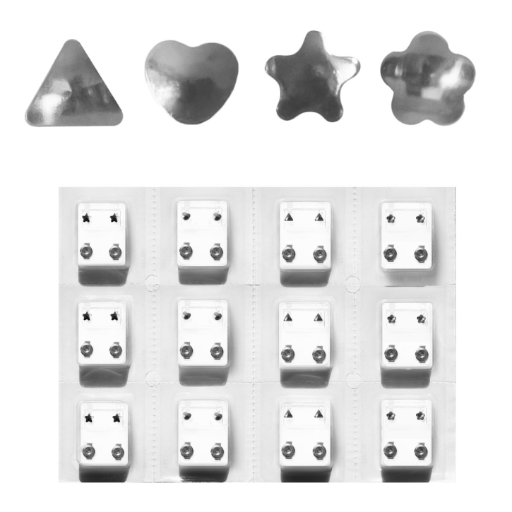 Erstohrstecker Set Chirurgenstahl - 12 Paar Ohrstecker verschiedene Formen 4mm