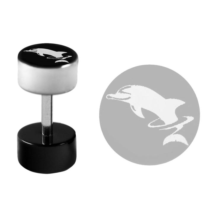 Fake Plug Ohrstecker mit Delfin