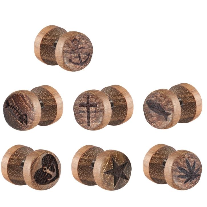 Fake Plug Ohrstecker Holz mit verschiedenen Motiven