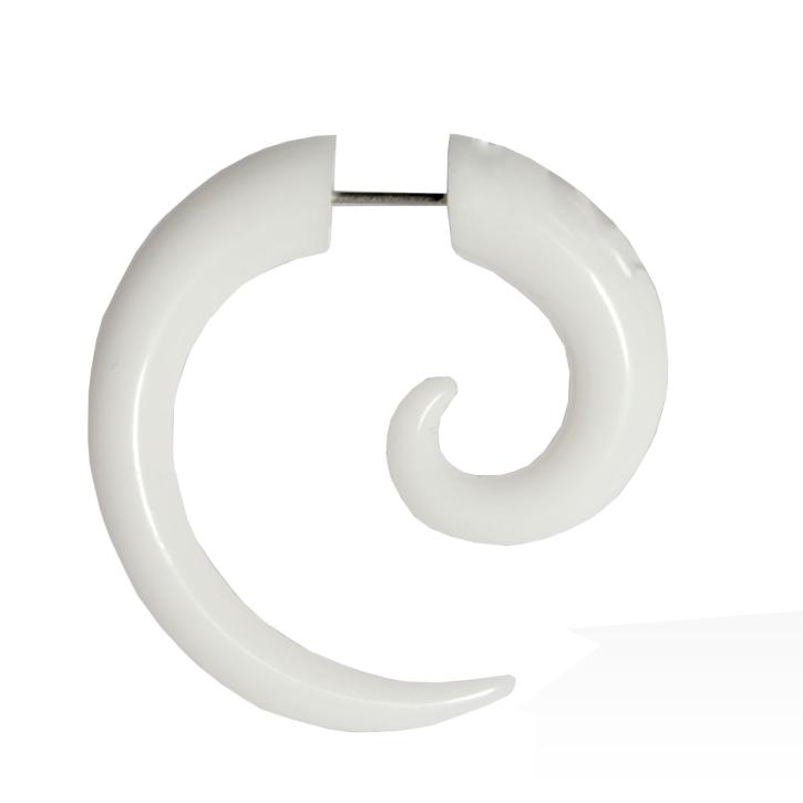 Fake Plug Ohrstecker Spirale in weiß 6-8mm