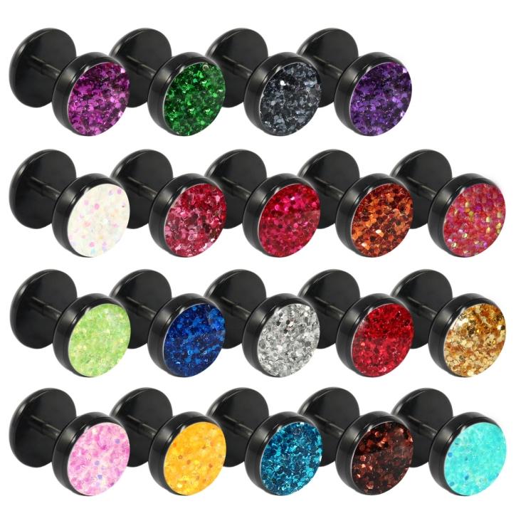 Fake Plug Ohrstecker schwarz Glitterline in verschiedenen Farben und Größen