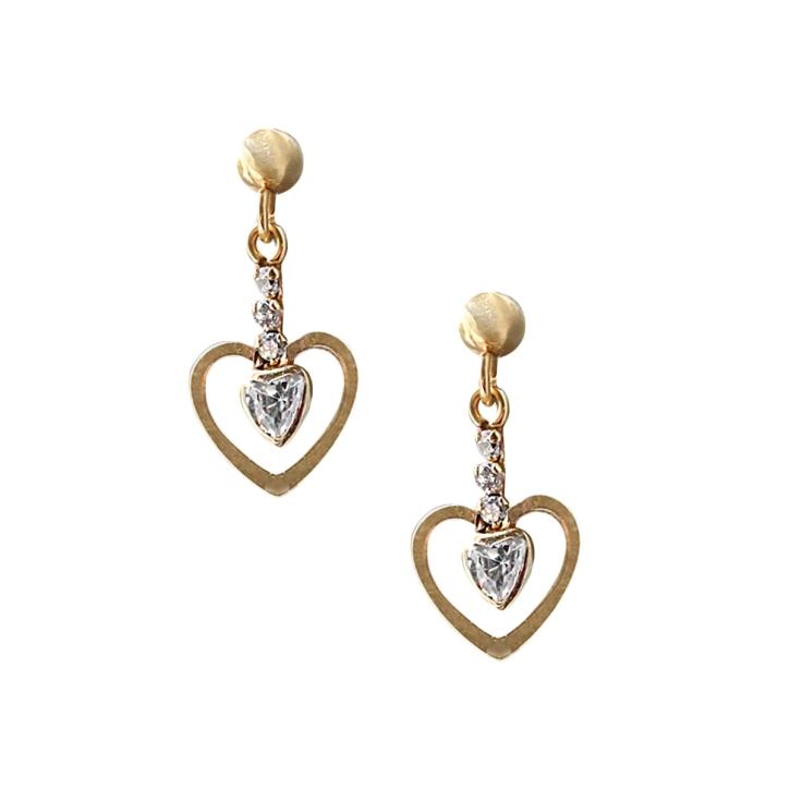 Ohrstecker Gold Herz mit Zirkonia Steinen