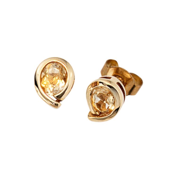 Gold Ohrstecker mit Citrin 333er Gelbgold