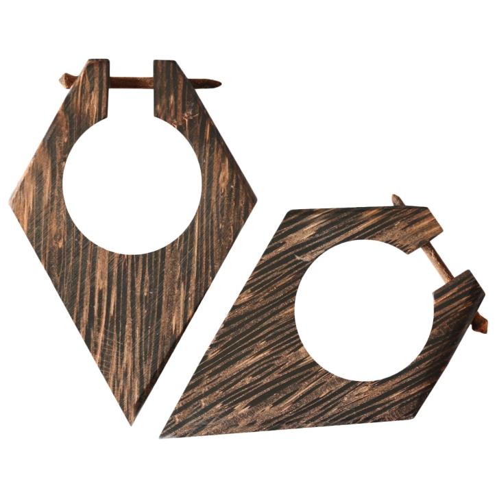 Palmenholz Ohrstecker rautenförmig