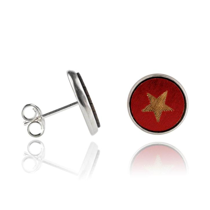 Holzohrstecker Edelstahl mit Stern rot in Buchenholz