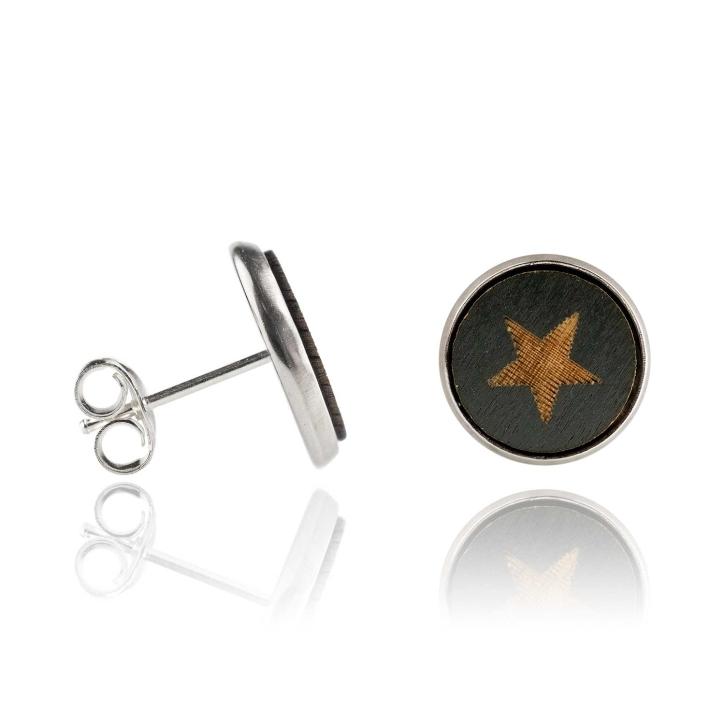 Holzohrstecker Edelstahl mit Stern schwarz in Buchenholz