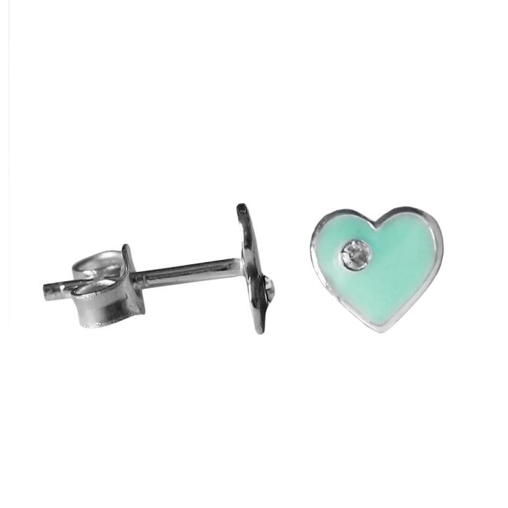 Ohrstecker grünes Herz 925 Sterling Silber mit Zirkonia