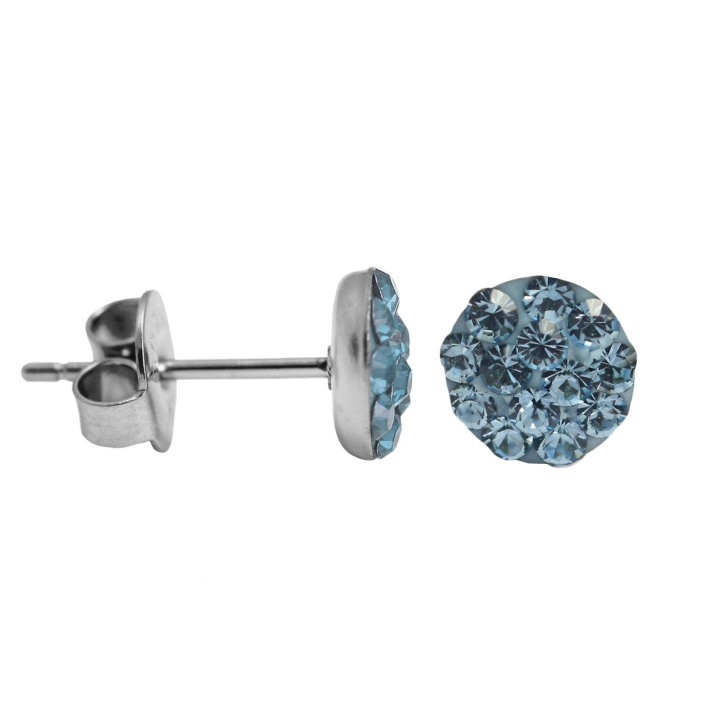 Kristalliner Ohrstecker Chirurgenstahl in hellblau 8 mm