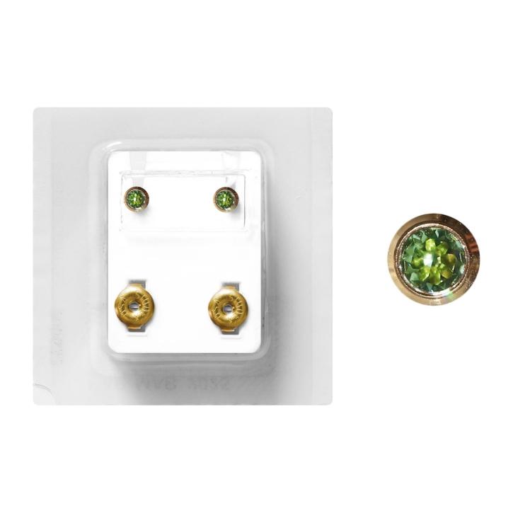 Erstohrstecker Chirurgenstahl vergoldet Sterile Ohrstecker Zarge mit Stein in grün 4mm