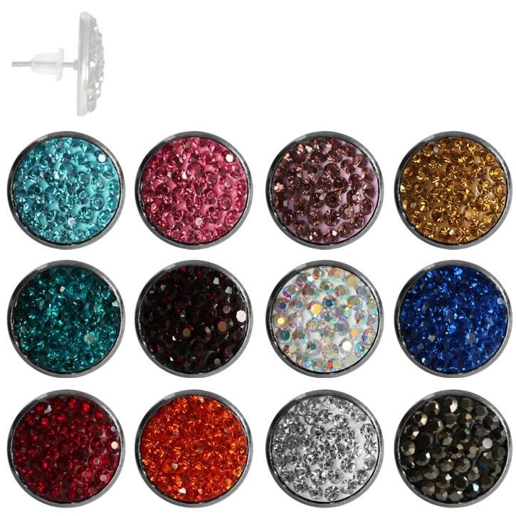 Kristalliner Modeschmuck Ohrstecker in verschiedenen Farben