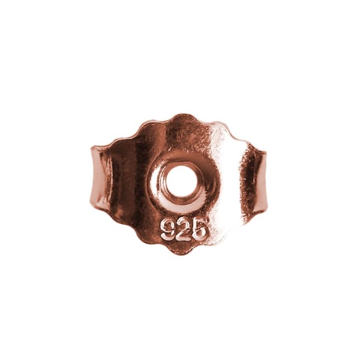 Ohrmutter 925er Silber Butterfly-Verschluss rot-vergoldet