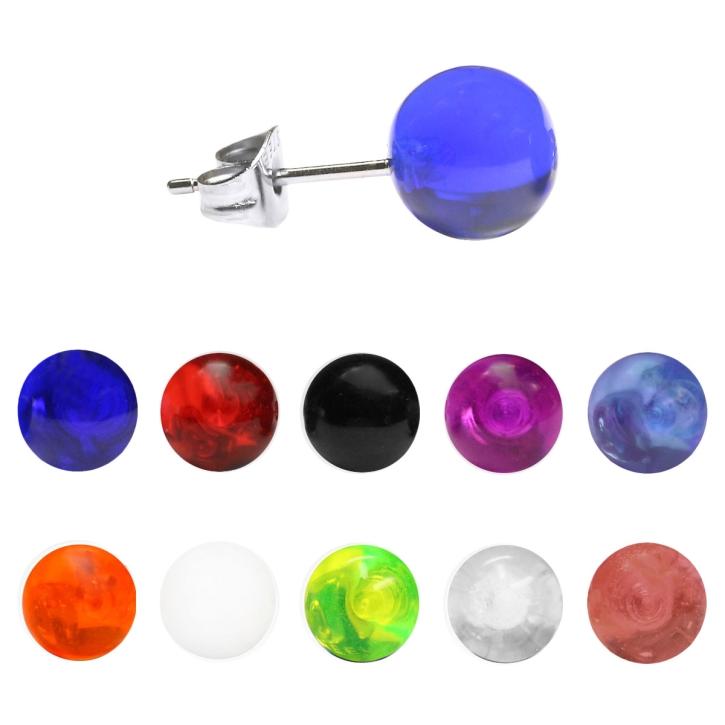 Ohrstecker mit Acrylkugel in verschiedenen Farben und Größen
