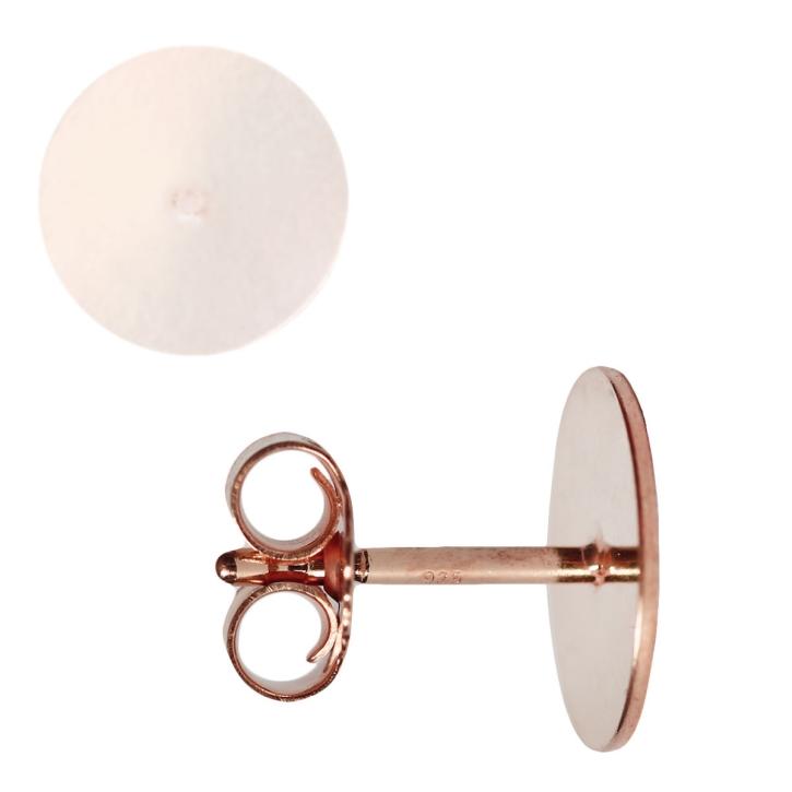 Ohrstecker Rohling mit Platte 925er Silber rosévergoldet 14ct 3-10mm