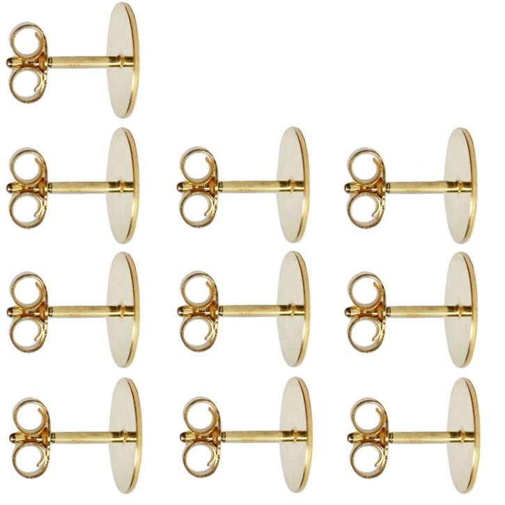 10 x Ohrstecker Rohlinge mit Platte 925er Silber vergoldet 3-10mm