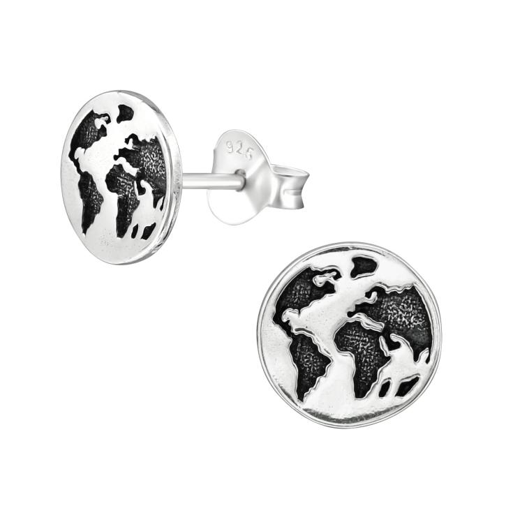 Ohrstecker 925 Sterling Silber mit Erde Weltkugel