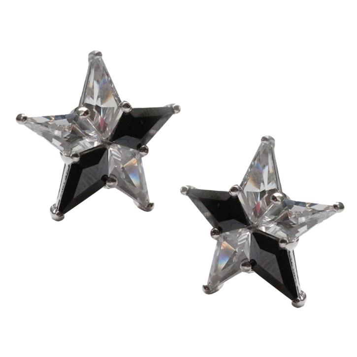 Stern Ohrstecker mit fünf gefassten Zirkonia in schwarz-weiß