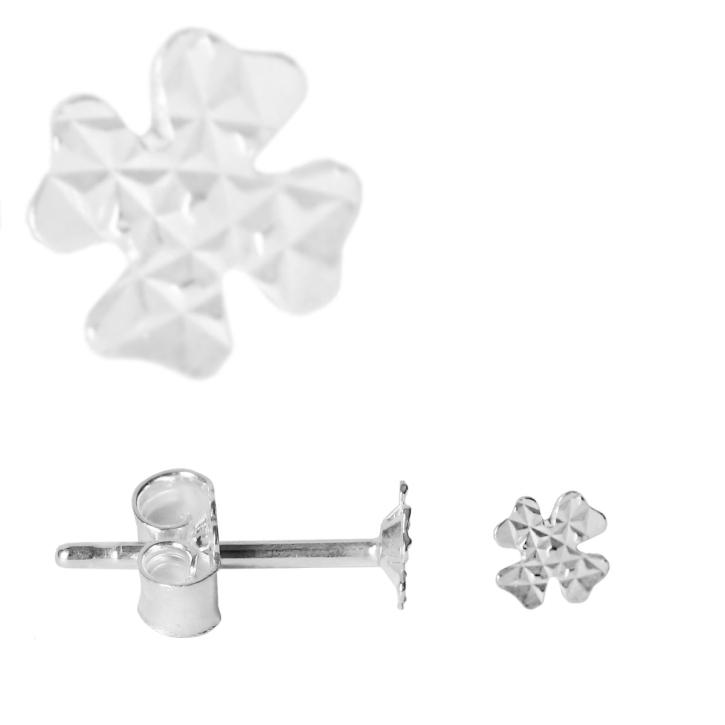 Silber Ohrstecker mit kleinem Kleeblatt