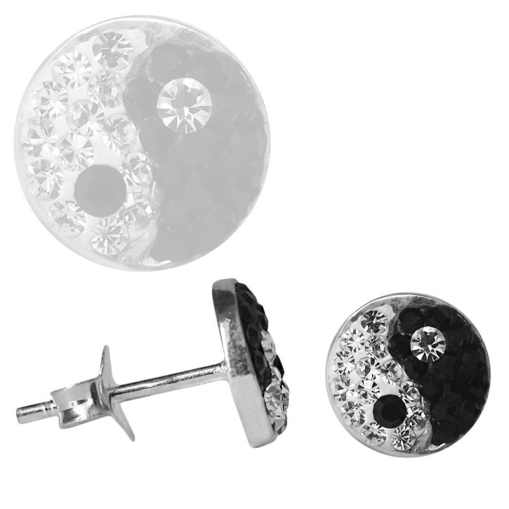 Silber Ohrstecker Yin Yang Glitzer Kristalle