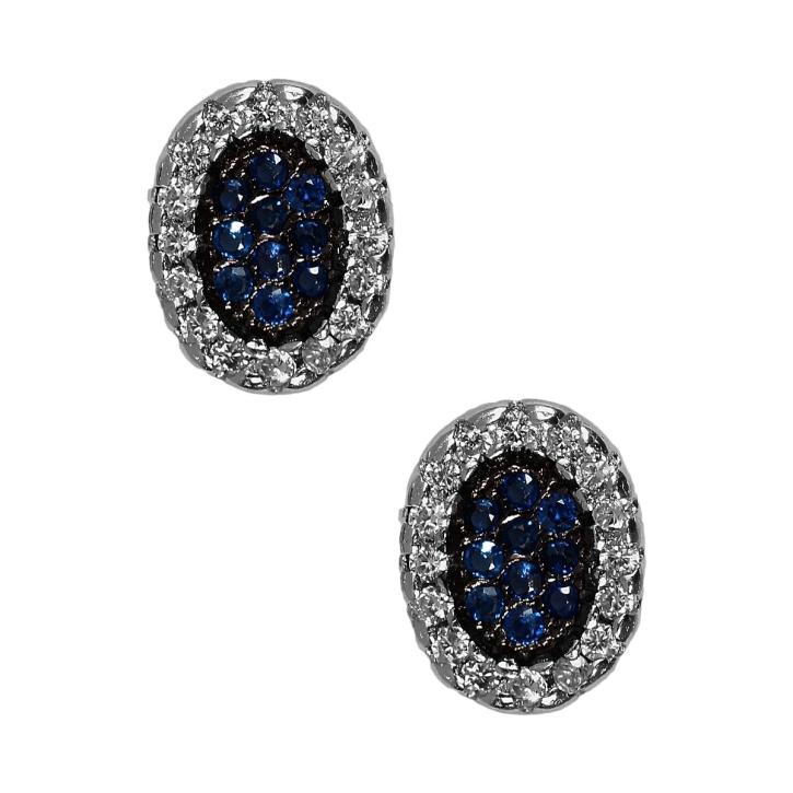 ohrstecker 925er sterling silber oval mit zirkonia in blau. Black Bedroom Furniture Sets. Home Design Ideas