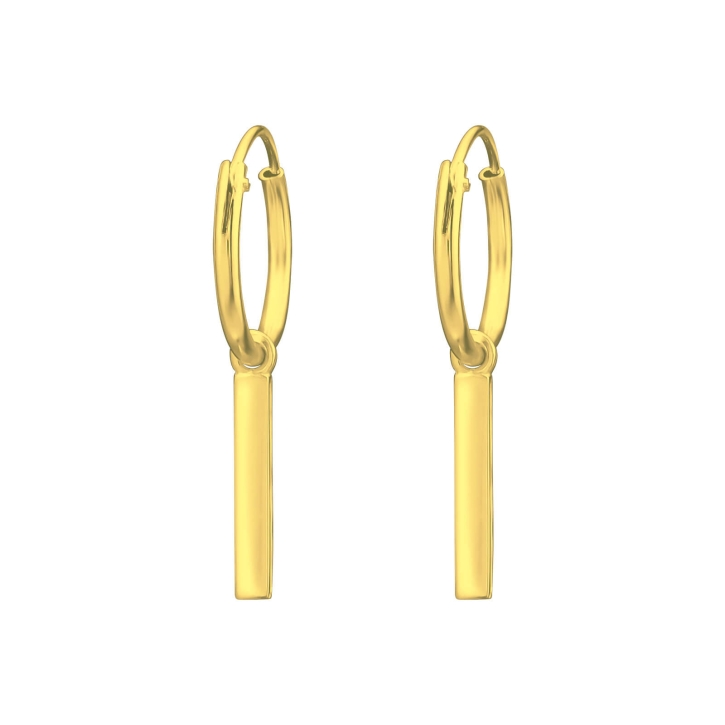 Creolen Ohrringe 925 Sterling Silber vergoldet mit hängendem Stab