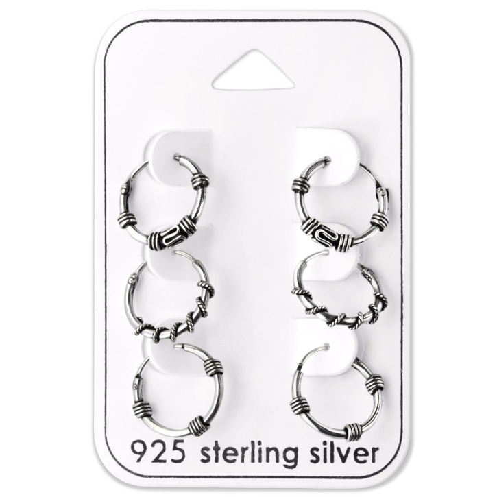 Ohrringe Set 925 Sterling Silber Bali Creolen 12 mm