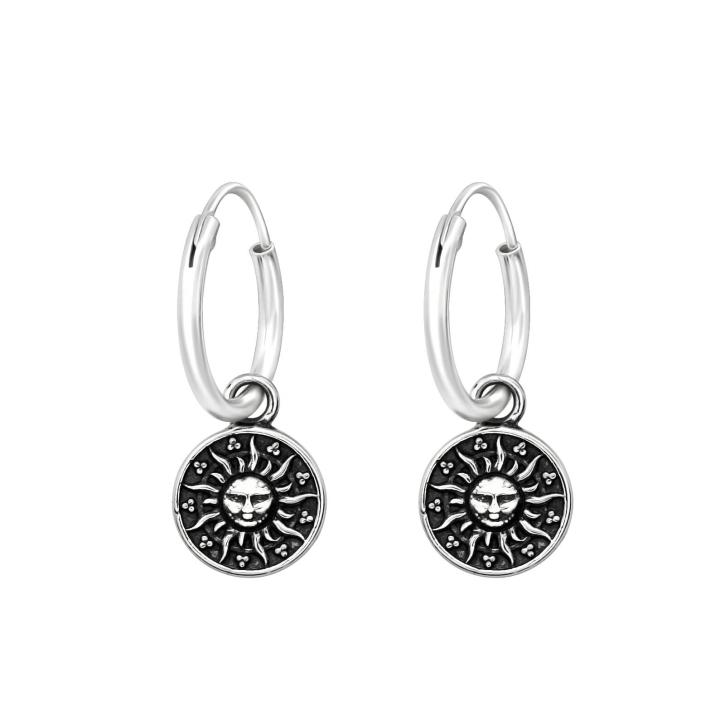 Creolen Ohrringe 925 Sterling Silber mit Sonne