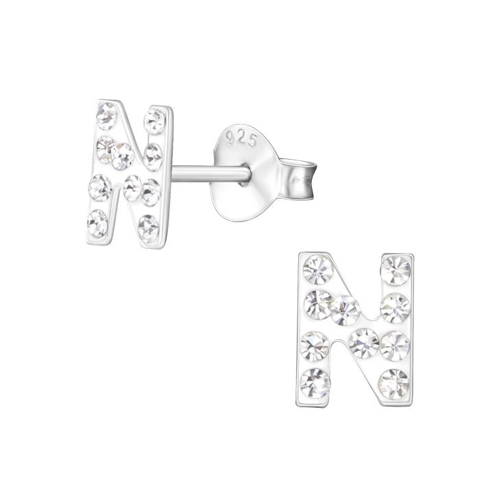 Buchstaben Ohrstecker 925 Sterling Silber N mit Kristallen