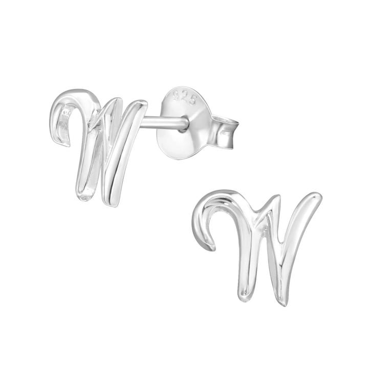 Buchstaben Ohrstecker 925 Sterling Silber mit W