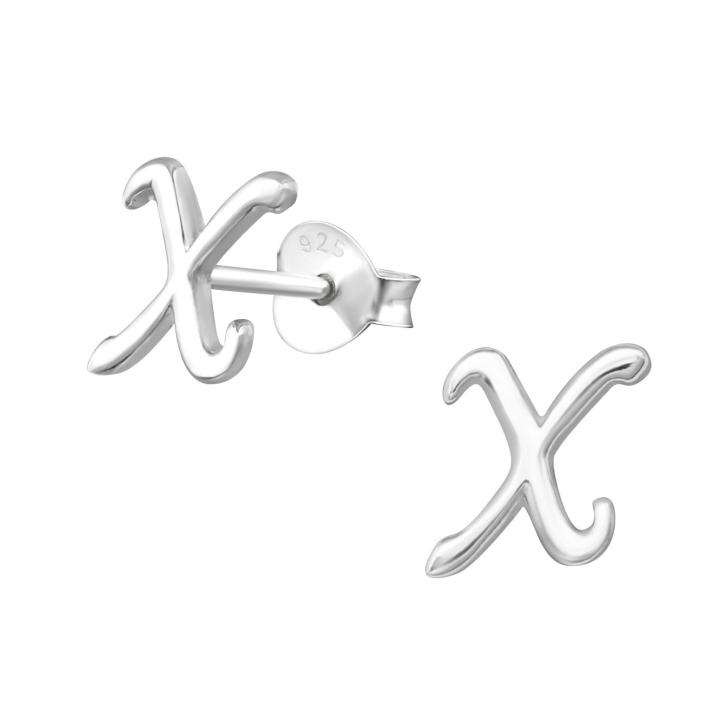 Buchstaben Ohrstecker 925 Sterling Silber mit X