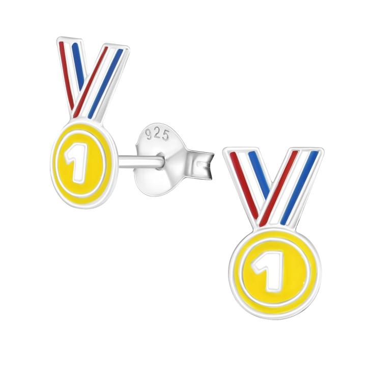 Ohrstecker 925 Sterling Silber mit Medaille