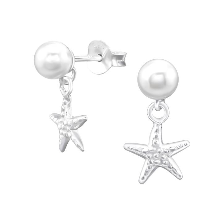 Ohrstecker 925 Sterling Silber Perle mit Seestern