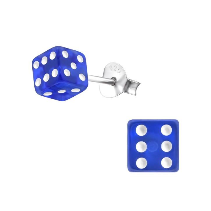 Ohrstecker 925 Sterling Silber mit Würfel in blau