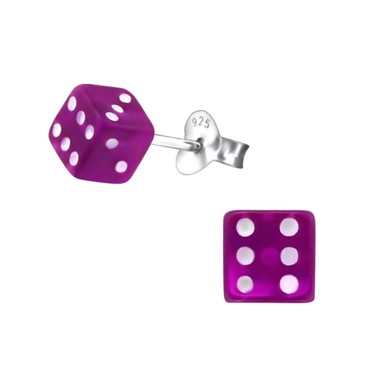 Ohrstecker 925 Sterling Silber mit Würfel in lila