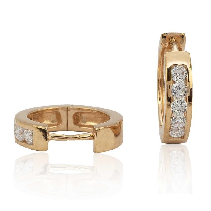 Creolen Ohrringe 925 Sterling Silber rosévergoldet mit Zirkoniasteinen 15mm